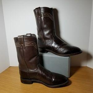 Justin Boots Lizard 3114 Size 8.5 D Brown